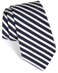 White and Navy Vertical Striped Tie