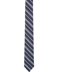 Thom Browne Navy White Striped Tie