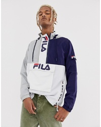 Fila Parallax Colour Block Overhead With Branded Zips In Grey