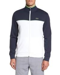 White and Navy Zip Sweater
