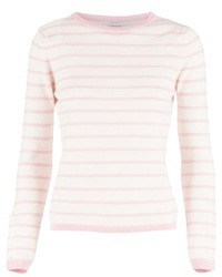 White and Pink Crew-neck Sweater