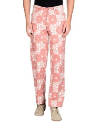 White and Pink Floral Chinos