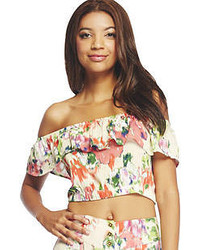 Arden B Watercolor Floral Ruffle Off Shoulder Crop Top
