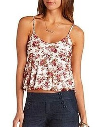Babydoll Floral Print Lace Crop Top