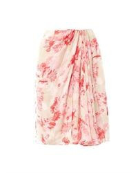 Floral silk pencil skirt medium 39200