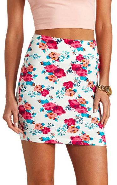 Charlotte Russe Floral Print Bodycon Mini Skirt | Where to buy ...