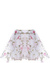 Pink floral print white skater skirt medium 52590