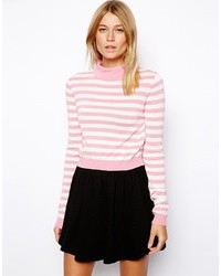 Asos Striped Crop Sweater With Turtleneck Pink