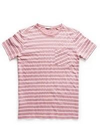 White and Pink Horizontal Striped Crew-neck T-shirt