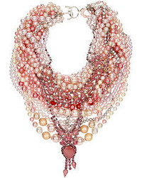 Tom Binns Pearls In Peril Rhodium Plated Faux Pearl And Crystal Necklace