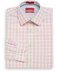 Trim fit gingham plaid dress shirt medium 25291