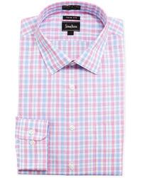 Trim fit non iron plaid dress shirt pink medium 25292