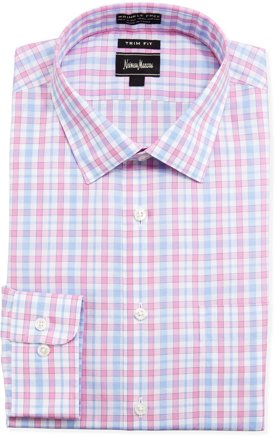 Neiman Marcus Trim Fit Non Iron Plaid Dress Shirt Pink | Where to ...