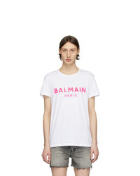 Balmain White And Pink Silicone Logo T Shirt