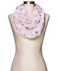 Manhattan Scarf Company Infinity Scarf Lip Print Pink And White