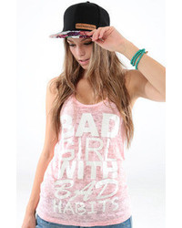 Tag Twenty Two Bad Girl Burnout Tank In Pink