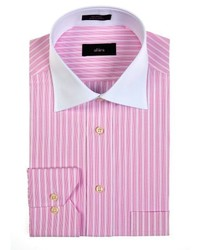 White and Pink Vertical Striped Long Sleeve Shirts for Men | Men's ...