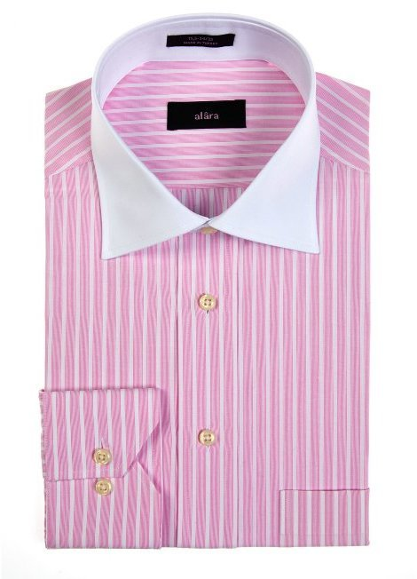 Alara White Collar Dress Shirt With Pink Stripes And Barrel Cuffs ...