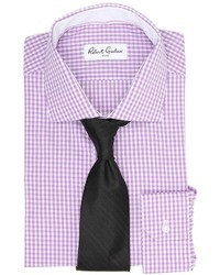 White and Purple Gingham Dress Shirt