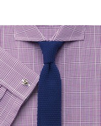 Charles Tyrwhitt Purple Textured Gingham Check Non Iron Extra Slim Fit Shirt