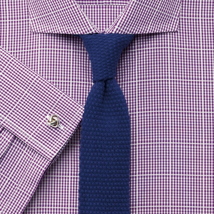 f22abd16f2bd ... Dress Shirts Charles Tyrwhitt Purple Textured Gingham Check Non Iron  Extra Slim Fit Shirt ...