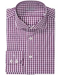 White and Purple Gingham Long Sleeve Shirt