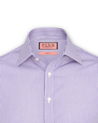 How to Wear a White and Purple Vertical Striped Dress Shirt