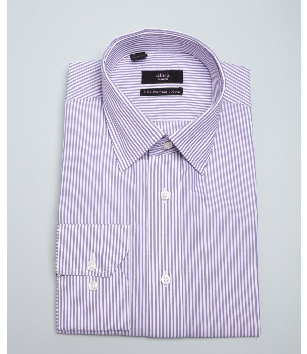 White and purple vertical striped dress shirt alara for Purple striped dress shirt
