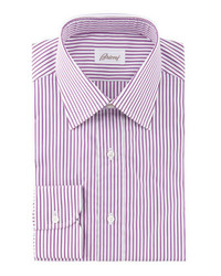 Brioni 3d Striped Dress Shirt Burgundywhite