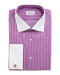 Brioni Contrast Collar Striped Dress Shirt Magentawhite