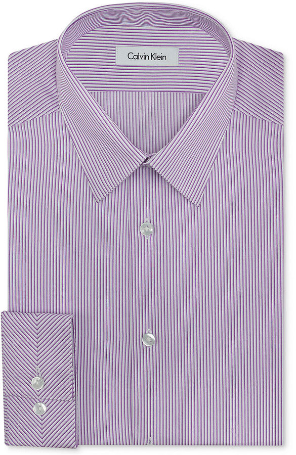 Calvin klein steel non iron purple and white fine stripe for Purple striped dress shirt
