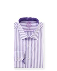 English Laundry Vertical Stripe Long Sleeve Dress Shirt Purple
