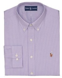 Polo ralph lauren fitted striped pinpoint oxford button for Pinpoint button down dress shirt