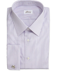 Brioni Rope Stripe French Cuff Shirt Purple