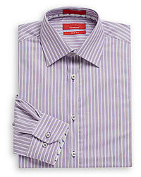 Saks Fifth Avenue RED Trim Fit Striped Cotton Dress Shirt