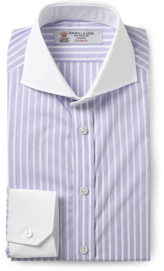 Turnbull & Asser Turnbull & Asser Purple Slim-Fit Contrast-Collar ...