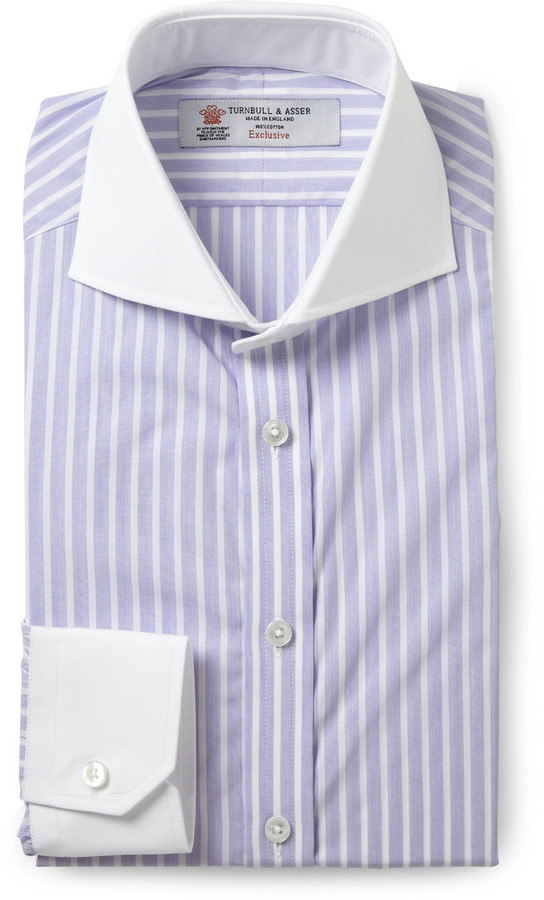 Turnbull Asser Purple Slim Fit Contrast Collar Cotton