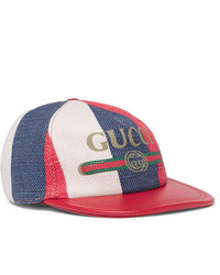 Gucci Leather Trimmed Linen Baseball Cap