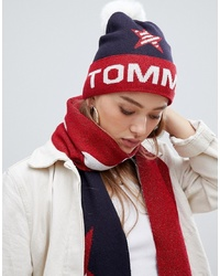 Tommy Jeans Glitter Logo Beanie With Faux Fur Bobble