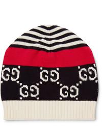 Gucci Logo Intarsia Cotton Beanie