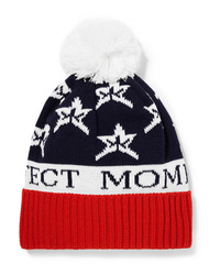 Perfect Moment Star Pompom Embellished Intarsia Wool Blend Beanie