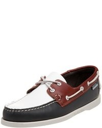 White and Red and Navy Boat Shoes