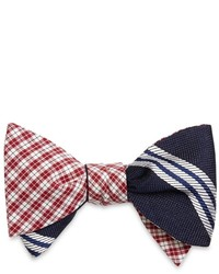 Brooks Brothers Mini Check With Large Bb10 Stripe Reversible Bow Tie