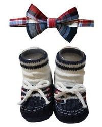 So Dorable Baby Boys Sodorable Plaid Bow Tie And Knit Booties Set Blueredwhite 0 12m