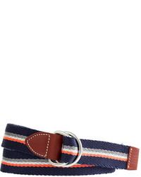 White and Red and Navy Canvas Belt