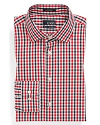 White and Red and Navy Gingham Dress Shirt