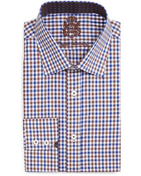 English Laundry Gingham Check Dress Shirt Brownnavy