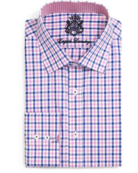 English Laundry Gingham Check Dress Shirt Pinknavy
