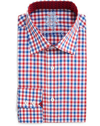 English Laundry Gingham Check Dress Shirt Redblue