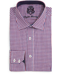 English Laundry Mini Check Dress Shirt Rednavy